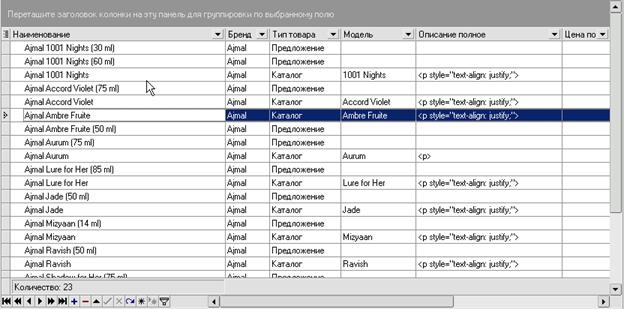 iNETsHOP: внешний вид таблицы - отображение колонок