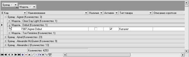 iNETsHOP: навигатор таблицы - просмотр группировки