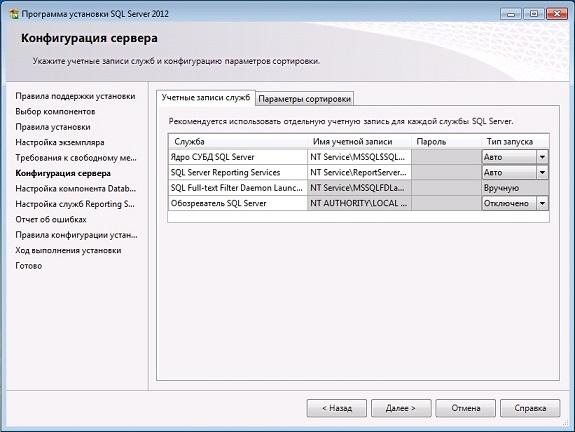 Параметры запуска служб СУБД Microsoft SQL Server Express